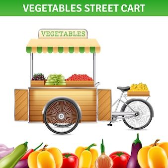 Vegetables street cart with tomatoes beetroot and peppers
