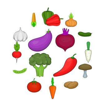 Vegetables studio icons set, cartoon style
