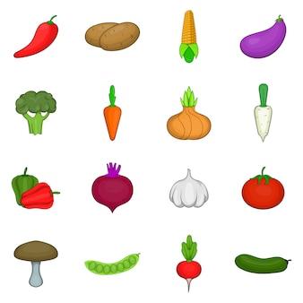 Vegetables studio icons set