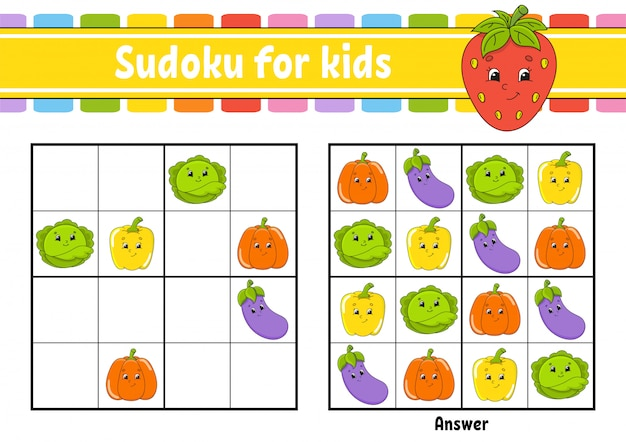 Vegetables sudoku worksheet