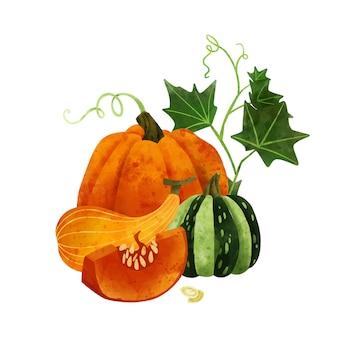 Овощной летний урожай композиция рисованной