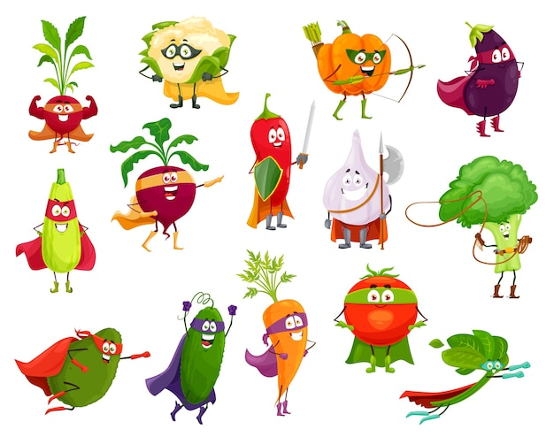 Vegetables super heroes,  broccoli, squash and avocado, cauliflower and beetroot. eggplant, chili pepper and pumpkin, spinach, carrot and tomato with cucumber, garlic and radish cartoon veggies