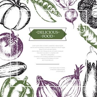 Овощи - трехцветный вектор рисованной составной флаер с copyspace. реалистичная брокколи, тыква, редис, лук, помидор, баклажан, перец, огурец, морковь, горох