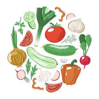 Овощи - помидор огурец болгарский перец лук чеснок лук-порей петрушка редька