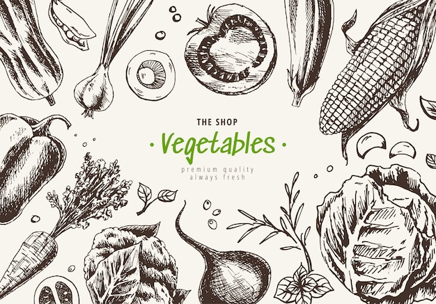 Vegetables top view frame