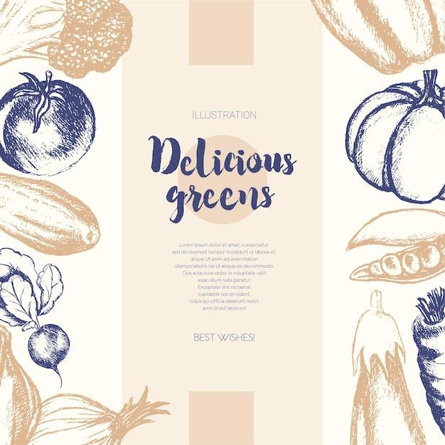 Овощи - двухцветный вектор рисованной составной баннер с copyspace. реалистичная брокколи, тыква, редис, лук, помидор, баклажан, перец, огурец, морковь, горох