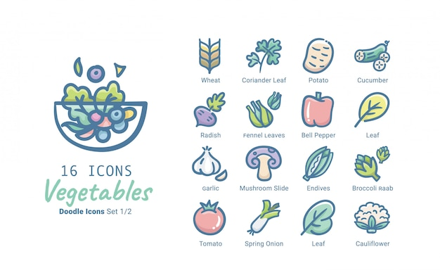 Vegetables vector icon collection