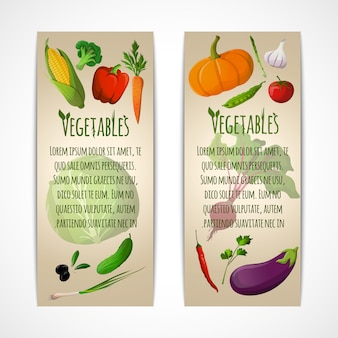 Vegetables vertical banners template