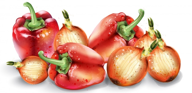 Vegetables watercolor. delicious tomatoes, red pepper and onions. summer healthy foods