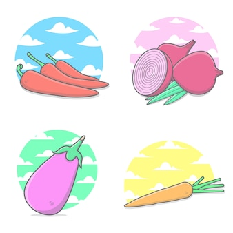 Vegetables with clouds and sky background package