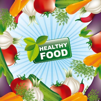 Vegetables with tag over blue background vector illustration