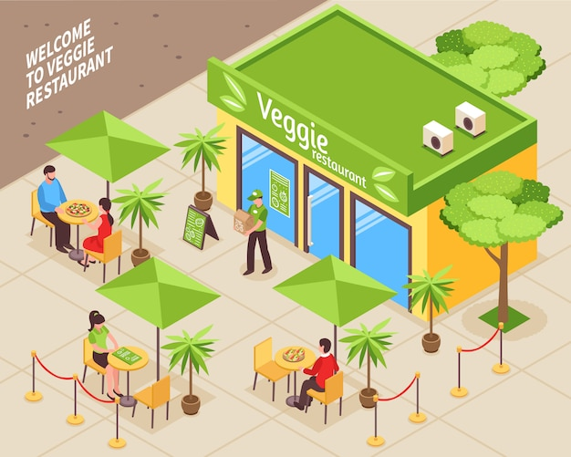 Vegetarian cafe outdoor isometric illustration