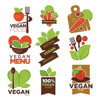 Vegetarian cafe or vegan restaurant vector icons