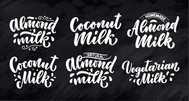 Vegetarian, coconut, almond milk lettering quotes. organic nutrition healthy food.