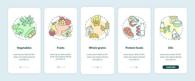 Компоненты вегетарианской диеты на экране страницы мобильного приложения с концепциями