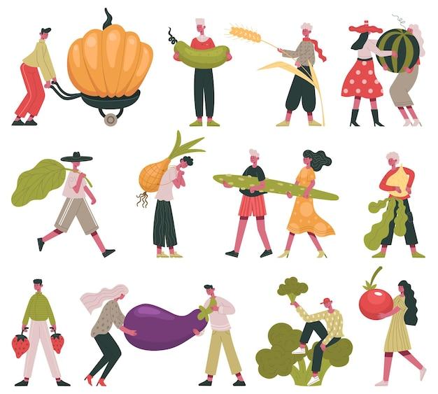 Образ жизни вегетарианской диеты. крошечные люди с фруктами и овощами, набор векторных иллюстраций фермы органической здоровой пищи. есть персонажи здоровой пищи. держать фрукты и овощи есть и носить