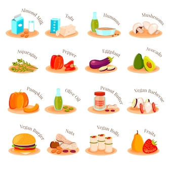 Vegetarian dishes icons set