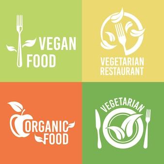 レストランメニューデザイン要素のベジタリアン料理とオーガニック製品セット