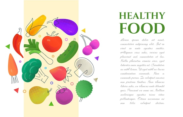 Vegetarian food background with a space for a text