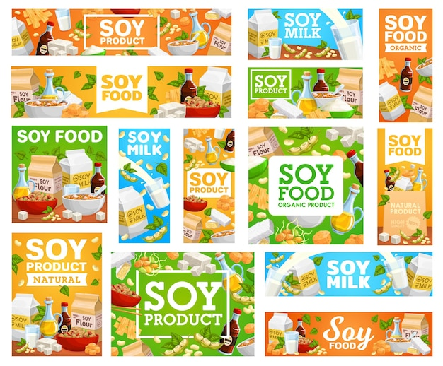Vegetarian food from soy beans banners set
