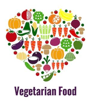 Форма сердца вегетарианской пищи. овощи и диетические, свежие и фрукты, морковь и помидоры, патисон и авокадо. векторная иллюстрация