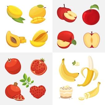 Иконки вегетарианской еды в мультяшном стиле. свежие органические фрукты. иллюстрация фруктовый урожай здоровья.