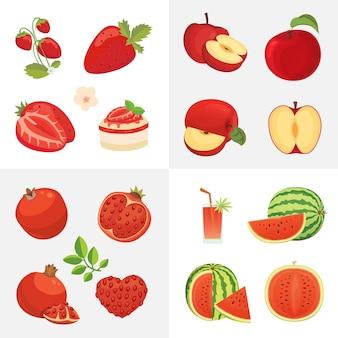 Иконки вегетарианской еды в мультяшном стиле. свежие органические фрукты красного цвета. здоровый фруктовый урожай.
