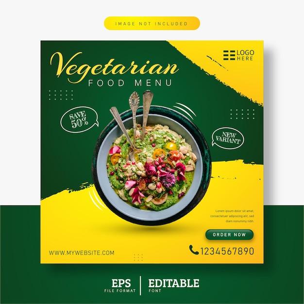 Vegetarian food menu social media post banner template