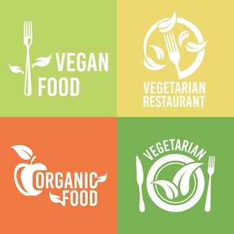 Vegetarian food and organic products set of restaurant menu design elements