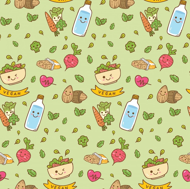 Vegetarian food seamless background