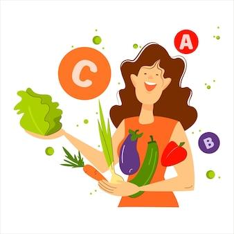 둥근 비타민 아이콘으로 둘러싸인 야채와 함께 채식주의 소녀. 벡터, 평면, 만화
