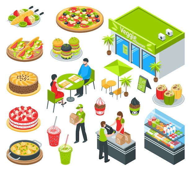 Vegetarian healthy cafe isometric set