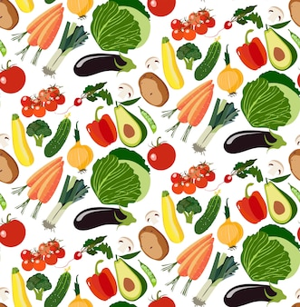 Vegetarian healthy seamless pattern of organic vegetables
