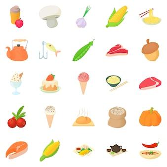 Vegetarian icons set, cartoon style