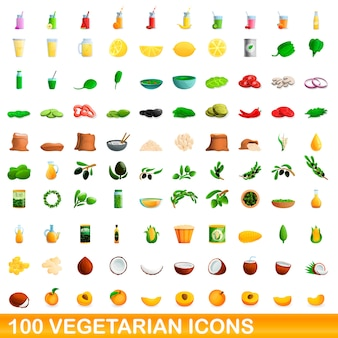 Vegetarian icons set, cartoon style