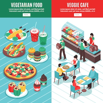 Vegetarian isometric vertical banners