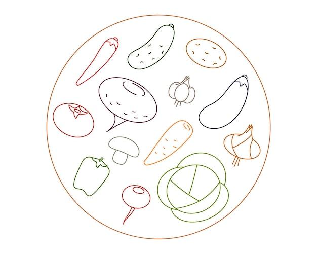 야채로 만든 채식 메뉴. 라운드 로고 템플릿 벡터입니다.