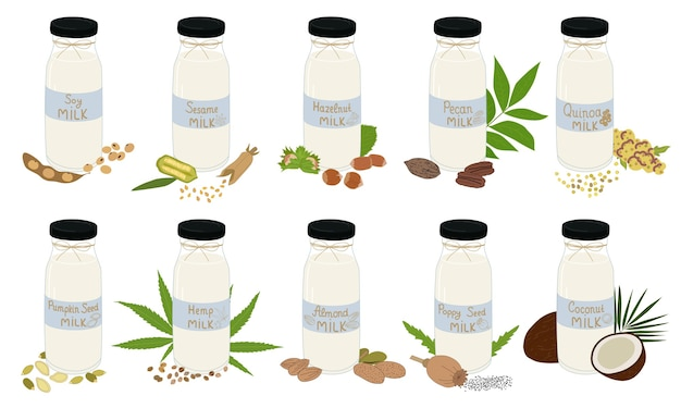 Vegetarian milk in glass jar isolated on white background