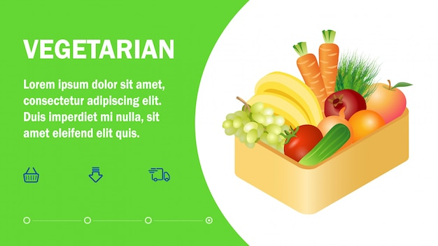 Vegetarian online store landing page flat template
