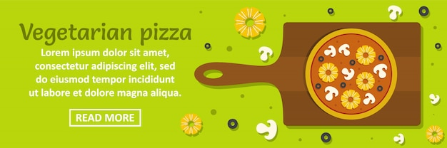 Vegetarian pizza banner template horizontal concept