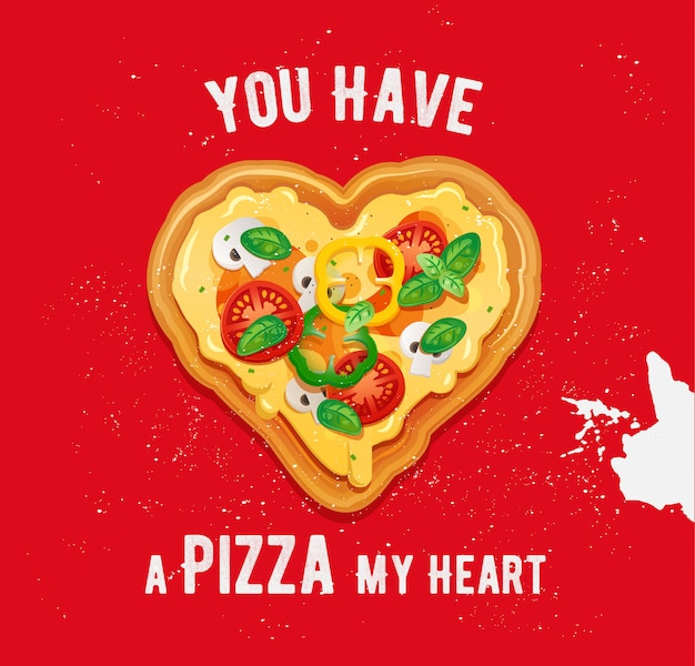 Vegetarian pizza in heart-shaped form with cheese, tomatoes, peppers and mushrooms ingredients. vector valentine with italian fast food