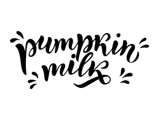 Vegetarian, pumpkin, organic milk lettering quote for banner, logo, packaging design. organic nutrition healthy food. phrases about dairy product. vector illustration isolated on white background