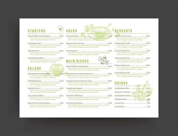 Vegetarian restaurant menu layout design brochure