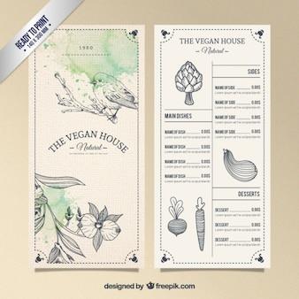 Vegetarian resturant menu in hand drawn style