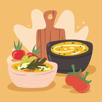 Vegetarian soup and kitchen board