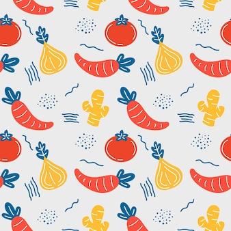 채식 벡터 원활한 패턴 배경