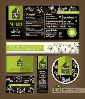 Vegetarian and vegan healthy restaurant cafe set