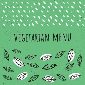 Vegetarian, vegan menu template in hand drawn style. hand-drawn style.