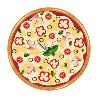 Vegetarian whole pizza top view
