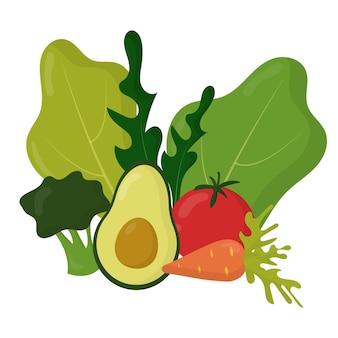 채식주의 개념 야채의 벡터 세트 야채에서 구성